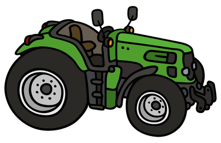 agronomic: Hand drawing of a green tractor - not a real type Illustration