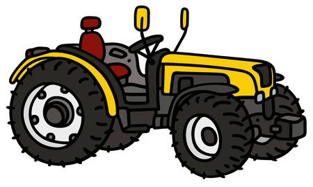 yellow tractor: Gr�fico de la mano de un peque�o tractor amarillo - no es un tipo de bienes