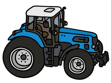agronomic: Hand drawing of a blue big tractor - not a real type