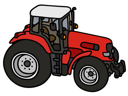 Hand drawing of a red heavy tractor - not a real type Vector Illustration