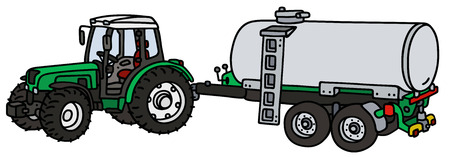 waggon: Hand drawing of a green tractor with the tank trailer - not a real type