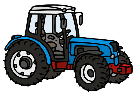 agronomic: Hand drawing of a blue tractor - not a real type