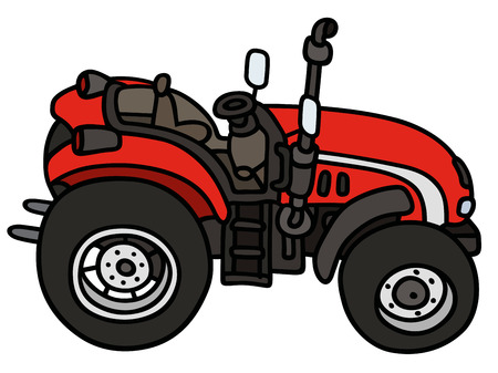 agronomic: Hand drawing of a red tractor - not a real type Illustration
