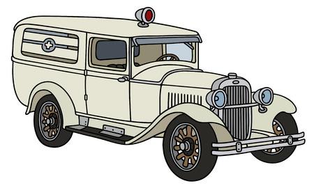 motor de carro: Gr�fico de la mano de una ambulancia de la vendimia - no un tipo de bienes Vectores