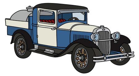 motor de carro: Gr�fico de la mano de un cami�n cisterna de productos l�cteos de la vendimia - no un tipo de bienes