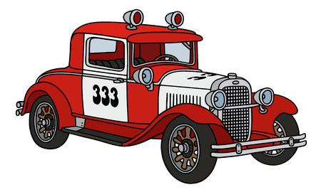 Gráfico de la mano de un coche patrulla de bomberos de la vendimia - no es un modelo real Foto de archivo - 43217043