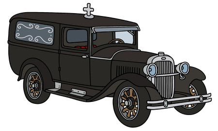 hearse: Hand drawing of a vintage funeral car - not a real type