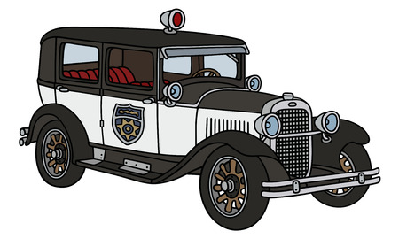 motor cop: Hand drawing of a vintage police car  - not a real type Illustration