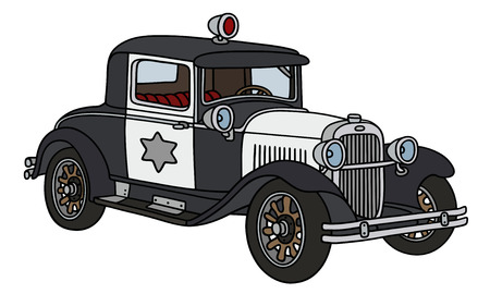 oldtimer: Hand drawing of a vintage police car  - not a real type Illustration