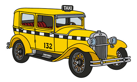 old timer: Hand drawing of a vintage taxi - not a real type