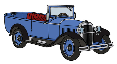 old timer: Hand drawing of a vintage open autocar - not a real type