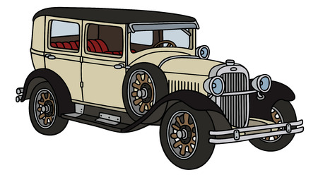 old timer: Hand drawing of a vintage car - not a real type Illustration