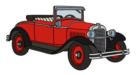 old timer: Hand drawing of a vintage red cabriolet - not a real type