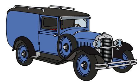 motor de carro: Gr�fico de la mano de una furgoneta azul de la vendimia - no un tipo de bienes