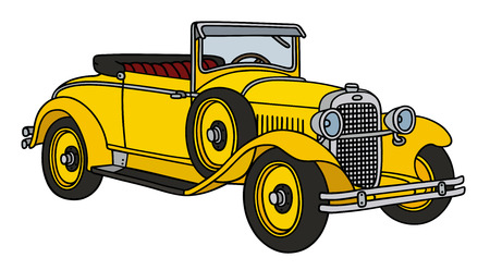 roadster: Hand drawing of a vintage yellow roadster - not a real type Illustration