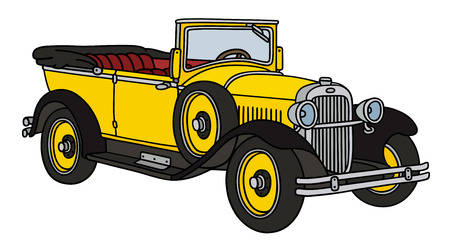 old timer: Hand drawing of a vintage yellow cabriolet - not a real type