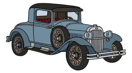 Hand drawing of a vintage blue coupe - not a real type Illustration