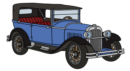old timer: Hand drawing of a vintage blue car - not a real type