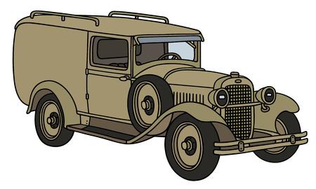 motor de carro: Gr�fico de la mano de un veh�culo militar de �poca - no un tipo de bienes