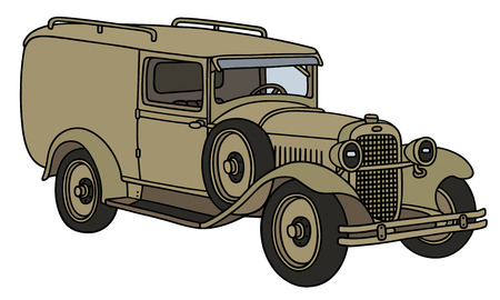old timer: Hand drawing of a vintage military vehicle - not a real type
