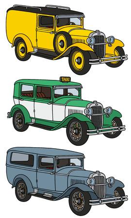 motor de carro: Gráfico de la mano de tres coches de época - los modelos reales