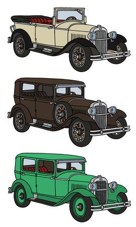Disegno a mano di tre auto d'epoca - eventuali modelli reali Vettoriali