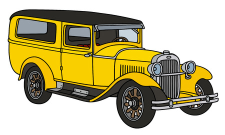 station wagon: Hand drawing of a vintage yellow station wagon - not a real type