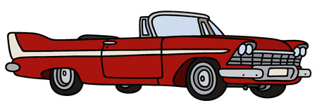 car on the road: Hand drawing of a classic red cabriolet Illustration