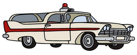 motor de carro: Gr�fico de la mano de una ambulancia de la cl�sica Vectores