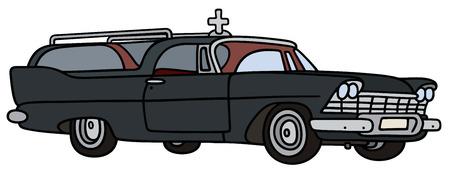 motor de carro: Gr�fico de la mano de un coche f�nebre cl�sica Vectores