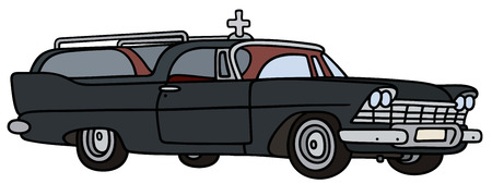 hearse: Hand drawing of a classic funeral car Illustration