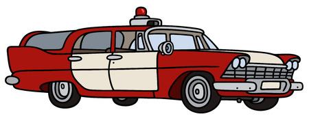 motor de carro: Gr�fico de la mano de un coche cl�sico firepatrol Vectores