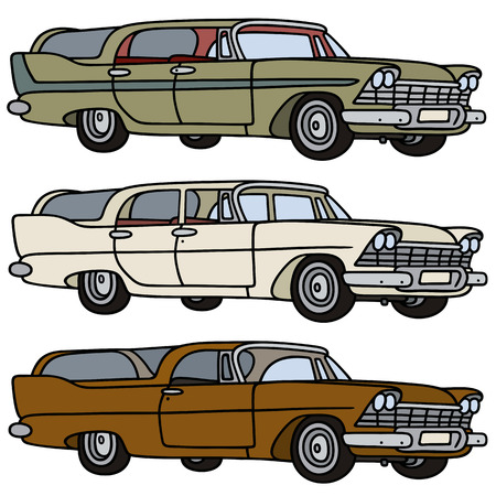 wagons: Hand drawing of three classic station wagons Illustration