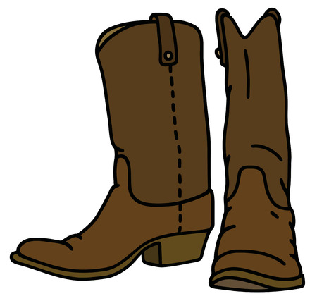botas vaqueras: Gráfico de la mano de una bota de cuero oscuro