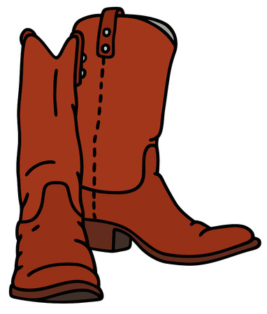 wellingtons: Hand drawing of a red jackboot