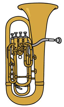 trombon: Gr�fico de la mano de un tromb�n Vectores