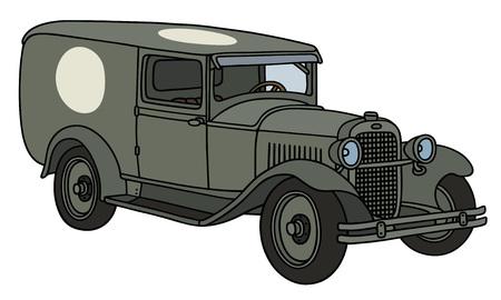 motor de carro: Gráfico de la mano de una ambulancia militar de la vendimia Vectores