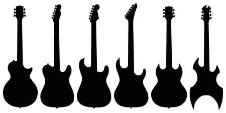 electric guitars: Hand drawing of six black electric guitars silhouettes