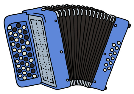 concertina: Hand drawing of a blue accordion