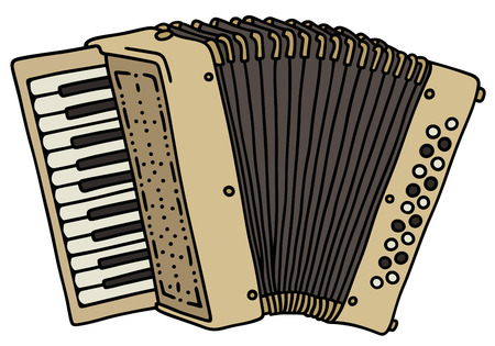 concertina: Hand drawing of a classic beige accordion