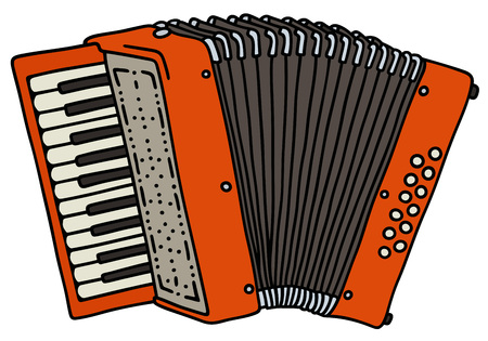 concertina: Hand drawing of a red accordion Illustration