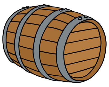 tun: Hand drawing of a wooden barrel