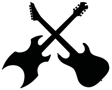 electric guitars: Hand drawing of two black electric guitars Illustration