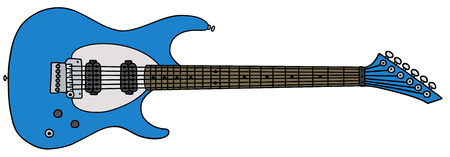 electric blue: Hand drawing of a blue electric guitar