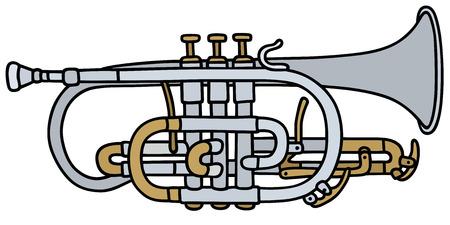 flugelhorn: Hand drawing of a classic  trumpet Illustration