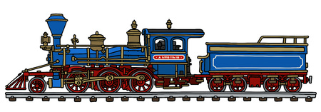black train: Hand drawing of a classic blue american steam locomotive with a scuttle