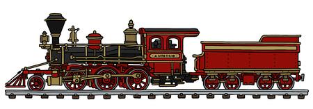 Hand tekening van een klassieke rode Amerikaanse stoomlocomotief met een schutbord