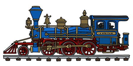 古典的な青のアメリカの蒸気機関車の図面の手
