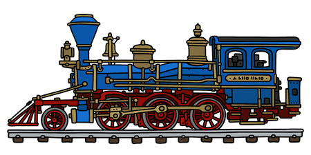 steam iron: Hand drawing of a classic blue american steam locomotive