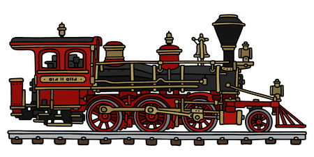 Hand drawing of a classic american steam locomotive 일러스트